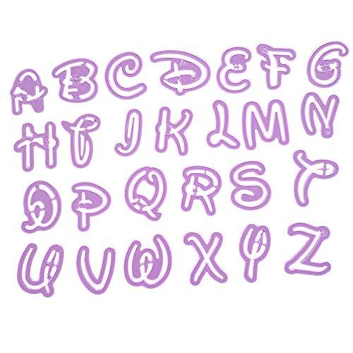 Yigatech 26 Alphabet Mold Disney Stil Brief Cutter Fondant Cookie Stempel Kuchen Dekorieren (Lila) Alphabet Cookie Cutter