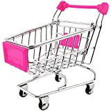 NF&E Kids Children Pretend Play Mini Shopping Entertainment Fun Cart Trolley Home Room Office Decor Toy Gift Fuchsia