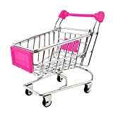 #8: NF&E Kids Children Pretend Play Mini Shopping Entertainment Fun Cart Trolley Home Room Office Decor Toy Gift Fuchsia