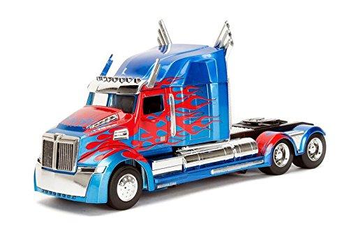 Jada Toys–UNF–Modellbau–Film Transformers Western Star 5700XE Phantom–Transformers 5–Maßstab 1/24, Blau/Rot (Optimus Prime Spielzeug Metall)