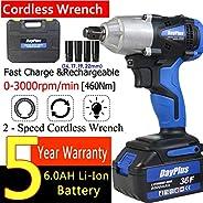 18V Cordless Impact Driver/Impact Wrench w/ 6000mHA Rechargeable Li-ion Battery, Socket, 460Nm Hight Torque, V