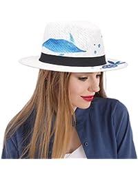 GR Sombrero de Sun Fedora Sombrero de Panamá para Mujeres con Peces  Dibujados a Mano Verano 9d03d00c464