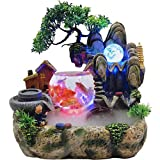 KATLY Fontane per Interni Rockery Fish Tank, Giardino Fontana a Cascata Fontana,Living Room Desktop Bonsai Ornaments,Home Interior Decoration Resin Crafts,LED Che cambiano Colore