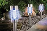 4 er Set Solarleuchte Farbwechsel oder weiß Edelstahl Echtglas mit integriertem Solarmodul und Dämmerungssensor - auch als Pfadbeleuchtung oder Wegeleuchte verwendbar - hochwertige rostfreie LED Solarleuchten mit 2 LEDs, Betrieb wahlweise in weiß oder in Farbwechsel - mit Colour Lock Technik, einzelne Farben fest einstellbar - inkl. integriertem NiMH-Akku - Solarleuchte LED Leuchte Edelstahl