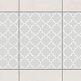Fliesen Bordüre - Traditional Quatrefoil Light Grey 20cm x 15cm, Setgröße:6teilig
