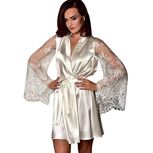 Amphia - Frauen Pyjamas - Silk Nachthemd - Große Bademäntel - Sexy Nachthemd - Damenmode Sexy Nachtwäsche Dessous Spitze Versuchung Gürtel Unterwäsche Nachthemd