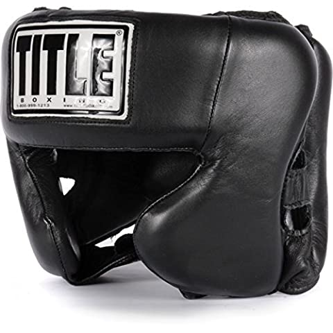 TITLE Boxing Hi-Performance Leather Headgear, Black by Title Boxing