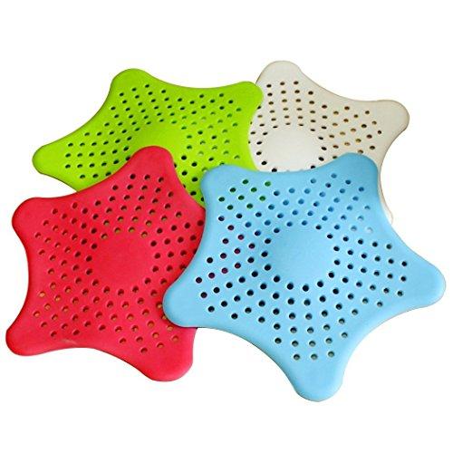 15CM Küche Waschbecken und Abfluss Fee Duftsteine,4 Stück Haarstopper für Waschbecken Spüle Bad Dusche etc.Rot, Blau, Grün, Weiß (Rot, Weiß, Blau, Haar-bögen)