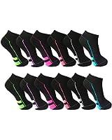 12 Paar Damen Sneaker Socken schwarz mit Top Design 90% BW 5% Elasthan Art 422