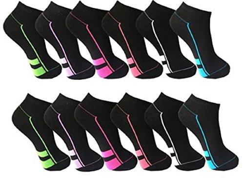 12 Paar Damen Sneaker Socken schwarz mit Top Design 90% BW 5% Elasthan Art 422 (35/38)