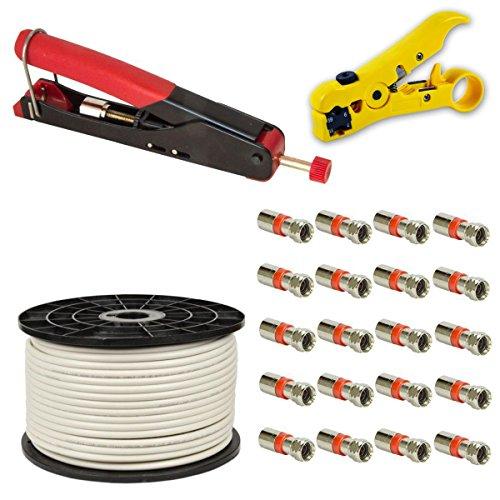 Kompressionszange Crimpzange Zange + Abisolierwerkzeug Abisolierer + 20x XCon S2 F Kompressionstecker für 7 - 7,5mm Sat Kabel + 100m PremiumX Basic Koaxialkabel Antennenkabel koax koaxial