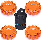 4er Warnleuchte Warnlicht Set mit Extra hellen LED & Magnet   Wasserdicht - Bruchsicher   Warnblinkleuchte für Auto/Lkw