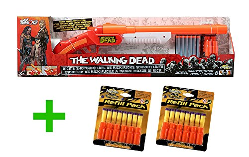 Preisvergleich Produktbild BuzzBeeToys The Walking Dead - Rick's Zombie Hunter Pack: Schrotflinte mit 12 extra Patronenhülsen und 16 extra Darts - Blaster kompatibel mit Nerf Darts