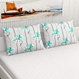 """Divine Casa 100% Smooth Grace Cotton Set Of 2 Pillow Covers, 18"""" X 28"""" For Bed Living Room - Turquoise & White (Floral)"""