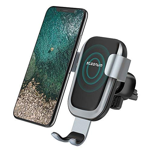 Cargador Inalámbrico Coche, Steanum Carga Rápida Cargador de Coche Soporte Móvi Aplicable a Rejillas del Aire con Samsung s9/s9 Plus/ s8 / s8 Plus / S7 / S6 Edge +/ Note 5, Cargador Inalámbrico QI para iPhone 8/ 8 Plus/ X/XS/XR (Negro)