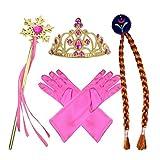 L-Peach 4Pcs Prinzessin Verkleiden Dress Up Handschuhe Rosa Diadem Perücke Zauberstab für Geburtstag Halloween Karneval-Partei Cosplay Mädchen