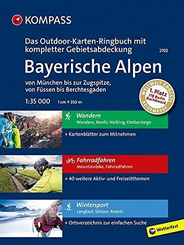 Bayerische Alpen - von München bis zur Zugspitze, von Füssen bis Berchtesgaden: 3 in 1: Das KOMPASS-Outdoor-Karten Ringbuch mit kompletter Gebietsabdeckung 1:35000: Outdoorkaarten 1:35 000 in ringband