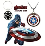 #7: 2 PC AVENGERS SET - CAPTAIN AMERICA SHIELD REVOLVING PENDANT WITH CHAIN & SHIELD LOGO 3D GLASS DOME KEYCHAIN. LADY HAWK DESIGNER SERIES 2018. ❤ LATEST ARRIVALS - RINGS & T SHIRT - CAPTAIN AMERICA - AVENGERS - MARVEL - SHIELD - IRONMAN - HULK - THOR - X MEN - DC - BATMAN - SUPERMAN - SPIDERMAN - DEADPOOL - FLASH - SUPER HERO ❤