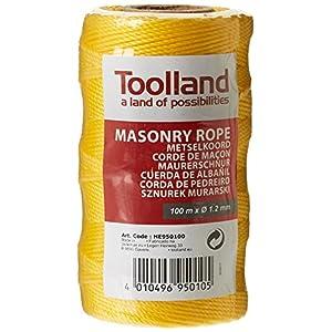 Toolland HE950100, Cuerda de albañil,1.2 mm Longitud 100 m Amarillo