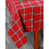 Homescapes Nappe rouge pour Noël de 140 x 180 cm avec motif écossais fait en pur coton