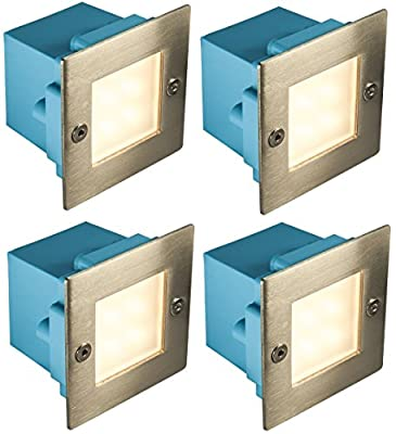 4 x Mini Brick Light LED Outdoor Step Light 70mm Square IP54 Warm White Recessed Wall Light from Long Life Lamp Company