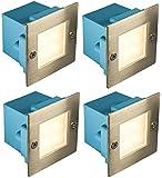 4 x Mini Brick Light LED Outdoor Step Light 70mm Square IP54 Warm White Recessed Wall Light