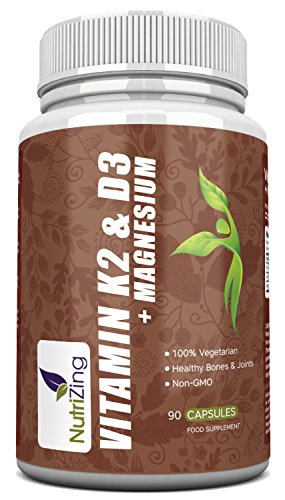 Combo 3 en 1: Vitaminas K2, D3 y Magnesio | Vitamina D3 3000IU, Vitamina K2 MK-7 150mcg, Magnesio 20mg | Apoya la absorción de calcio y los huesos normales | Fórmula de Alta Potencia por NutriZing