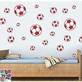 Balones de fútbol Multipack–paquete de 22–rojo–Adhesivos reposicionables para pared Art vinilo impreso–fácil Peel & stick