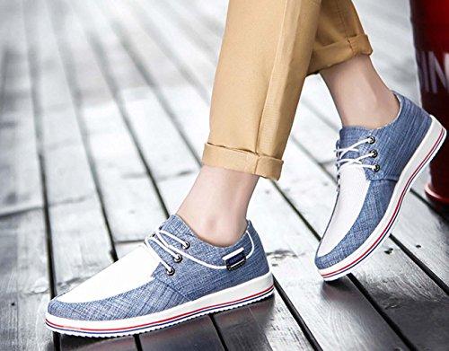 NobS Hommes Chaussures Chaussures de toile Caoutchouc Front Lace-Up Flats Spring Clogs Candy Couleur Respirant Net Fils Casual Chaussures Blue