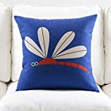 WYQLZ Dragonfly Pattern Nordic Simple Sofa Pillow Cushion Office Nap Hold Pillow Bedside Couch Upscale Waist Pillow Back Pad ( Capacity : Excluding pillow core , Size : 53*53cm )