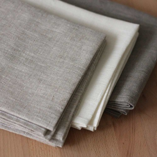 Alemira 1334 Satz von 3 Leinen Dichten, 245 g / m2, Geschirrtücher, 50 x 70 cm, weiß / hellgrau / natur grau