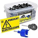 Voss.farming Scatola 150 isolatori ad anello per recinzioni elettriche + avvitatore manuale e segnale di pericolo