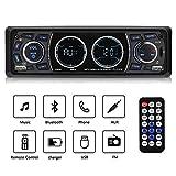 """Excelvan Reproductor MP3 para Coche, 1 DIN 4"""" Autoradio Bluetooth Coche con Pantalla LCD, Auto Estéreo, Soporte Bluetooth/Dual USB/TF / AUX/FM / Am/Llamadas de Manos Libres, Color Negro"""
