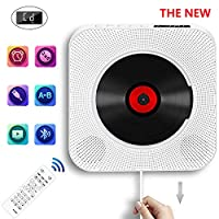 Portable CD Player,Portable CD Player with Bluetooth Wall Mountable Built-in HiFi Speakers, AUX input/output with 3.5mm Jack,Cable Switch/Remote Control Gift for Friend,White