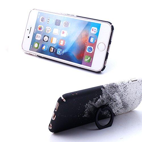 """iProtect Hardcase mit Ring Halter Marmor Design Schutzhülle in Schwarz mit Fingerhalterung für Apple iPhone 6 6s (4,7"""") Ölfarben Schwarz"""