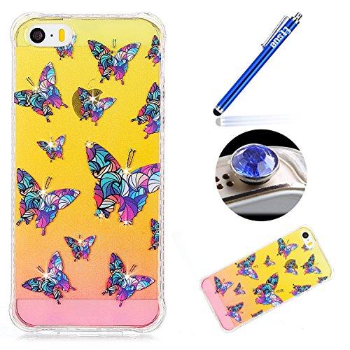 iPhone 5S Custodia Diamante Bling,iPhone SE Cover in Silicone,Etsue 2017 Neo Disegni Donna Ragazza Cristallo Bling Scintillante Diamante Bella Elegante Romantico Farfalla Modello Trasparente Flessibil Farfalla