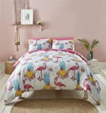 Tropical FLAMANTS ROSES ANANAS ROSE Mélange de coton Housse de couette double