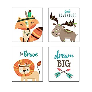 anber Woodland Animal Prints Nursery Wall Art Dream Big Motivational Poster Baby Kids Room Nursery Décor Baby Shower, Set of 4 Unframed