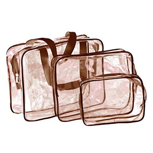 Fami Donne Travel Must-trasparente Materproof Cosmetic Pouch Wash vasca da bagno (Caffè) - Cartella Pouch