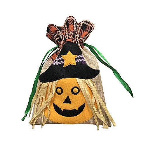 jingyuu 1 Stück Hellgelb Tasche Zeichnen Tragbar Mini Halloween-Süßigkeiten-Tasche Kürbis Tasche Deko Taschen für Halloween Dekoration Kinder Party 16.5 * 26.5cm