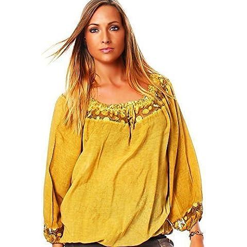 Moda Italy - Camicia - stile impero - Basic -  donna