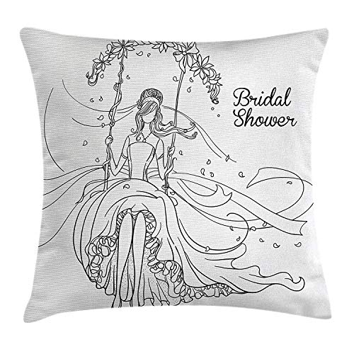 XIAOYI Bridal Shower Decorations Throw Pillow Cushion Cover, Sketchy Hand Drawn Bride with Floral Swirls Swing Image, Decorative Square Accent Pillow Case, 18 X 18 inches, Black and White -