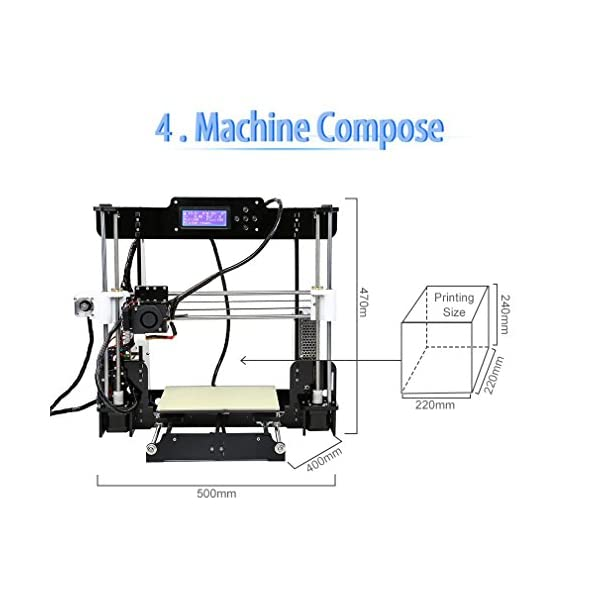 3D Printer, LESHP High Precision Desktop Prusa i3 3D Printer with All Metal  MK8 Extruder Nozzle Dual Air Vents, Acrylic Frame LCD Screen 220*220*240mm
