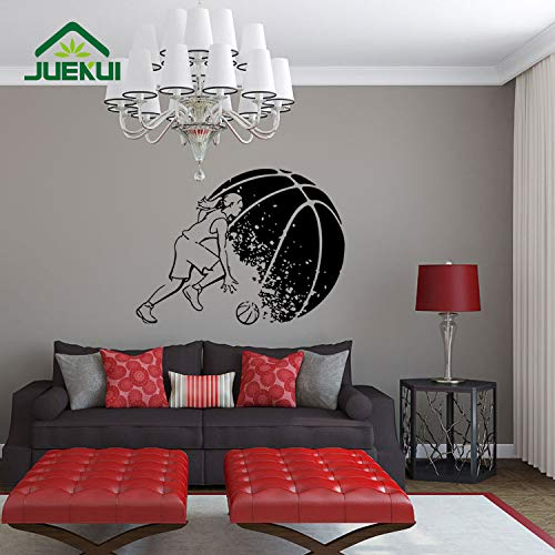 ljradj Big Basketball Woman Play Rimovibile Wall Stickers Quotazioni per Soggiorno Home Art Decor Vinyl Decals Camera da Letto Murales Bianco 47X42cm