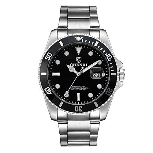Herren Edelstahl Uhren Männer Sport Wasserdicht Datum Kalender Armbanduhr Geschäfts Beiläufig Mode Kleid Analog Quarz Uhr Herrenuhr Sportuhr