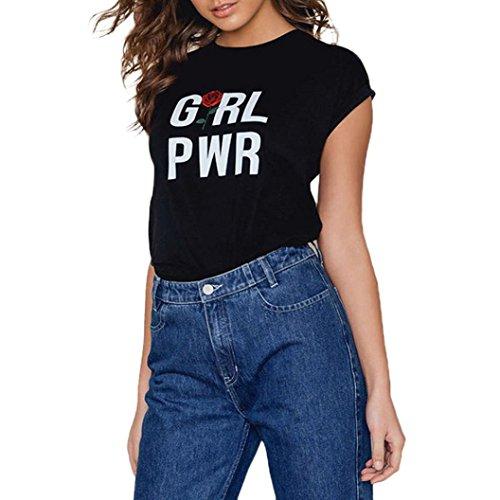 Bluestercool T-shirt Femme à manches courtes en vrac Blouse Shirt Casual Floral Rose Noir