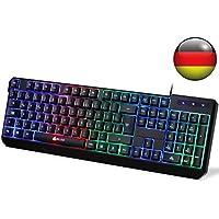 KLIM Chroma Tastatur Gamer QWERTZ DEUTSCHE mit USB Kabel – Hohe Leistung – bunte Beleuchtung Gaming Tastatur (schwarz) RGB PC Windows, Mac