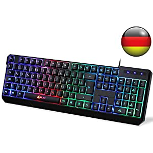 KLIMTM Chroma Gaming Tastatur – Gamer Keyboard LED Beleuchtete QWERTZ DEUTSCH mit USB Kabel – Hohe Leistung – Bunte Beleuchtung RGB – PC, Laptop, PS4, Xbox One X – 2019 Version – Schwarz