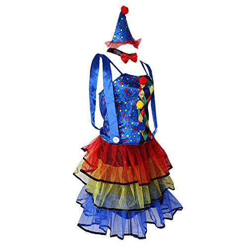 MagiDeal Clown-Kostüm Damen Komödie Clown Mini Kleid sexy ()