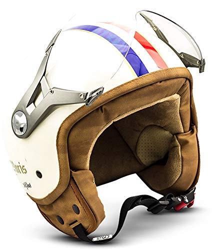 SOXON SP-325-MONO Night /· Vespa Vintage Bobber Moto Scooter Casque Jet Demi-Jet Retro Helmet Chopper Pilot Cruiser Biker Mofa /· ECE certifi/és /· visi/ère inclus /· y compris le sac de casque /· Noir /· XL